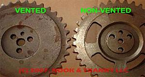 Non-vented Optisparks use a splined timing gear, vented gears are hollow in the center