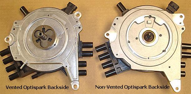 Vented Optispark backside (left in photo), non-vented Optispark backside (right in photo)