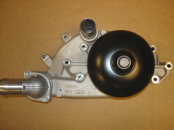 LS1 Corvette/Camaro/Firebird water pump : has no provision for mechanical fan and has water outlet parallel to pulley