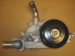 Truck water pump : Has provision for mechanical cooling fan and has the outlet perpindicular to the pulley.